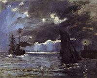 Claude Monet Port of Honfleur at Night