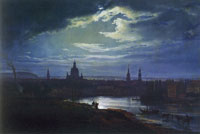 Johan Christian Dahl Dresden in moonlight
