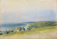 Edgar Degas Houses on cliffs surrounding a bay