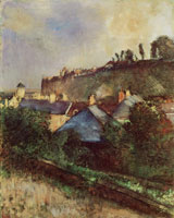 Edgar Degas Houses at the foot of a cliff