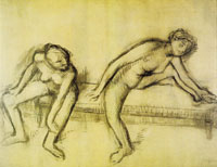 Edgar Degas Two nude dancers on a bench