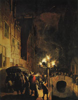 Egbert van der Poel Bonfires beside the Oude Delft Canal