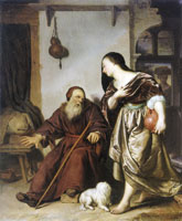 Frans van Mieris the Elder - Jeroboam's wife with the prohet Ahijah