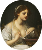 Circle of Jean-Baptiste Greuze Girl with Birds