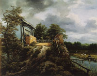 Jacob van Ruisdael Brick Bridge with a Sluice