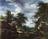 Jacob van Ruisdael Hilly Wooded Landscape with Castle