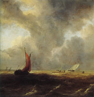 Jacob van Ruisdael Sailing Vessels in a Choppy Sea