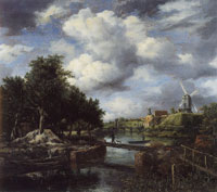 Jacob van Ruisdael Landscape with a Windmill Near a Town Moat