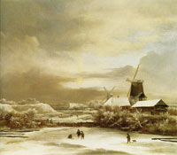 Jacob van Ruisdael Winter Landscape with Two Windmills