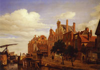 Jan van der Heyden A Canal with a Drawbridge