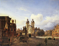 Jan van der Heyden Imaginary View of the Jesuit Church of St. Andreas in Düsseldorf