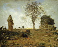 Jean-François Millet Autumn Landscape with a Flock of Turkeys