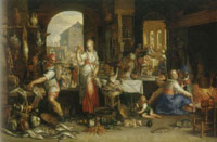 Joachim Wtewael Kitchen Scene with the Parable of the Great Supper