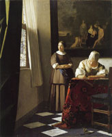 Johannes Vermeer Lady writing a letter with her maid