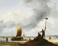 Ludolf Backhuysen Beach with fishing ships