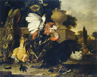 Melchior d'Hondecoeter Fight between a cockerel and a turkey