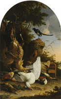 Melchior d'Hondecoeter A hunter's bag near a tree stump with a magpie