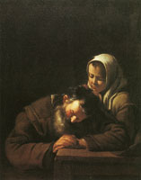 Michael Sweerts Sleeping old man with a girl