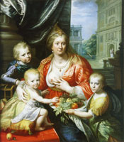 Paulus Moreelse Portrait of Sophia Hedwig, Countess of Nassau-Dietz, as Charity with her Children