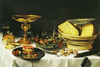 Pieter Claesz. Fruit Still Life with Gilded Tazza and Cheese Basket