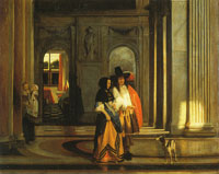 Pieter de Hooch A Couple Walking in the Citizens' Hall of the Amsterdam Town Hall