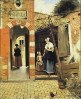 Pieter de Hooch A Courtyard in Delft with a Woman and Child