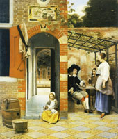 Pieter de Hooch Figures Drinking in a Courtyard