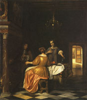Pieter de Hooch Merry Company with a Man and Two Women