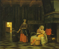 Pieter de Hooch Mother and Infant with Maidservant and a Child