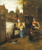 Pieter de Hooch Two Women and a Child in a Courtyard