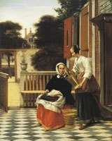 Pieter de Hooch Woman and Maidservant in a Courtyard