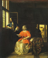 Pieter de Hooch A Woman Reading a Letter and a Man at a Window