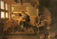 Quiringh van Brekelenkam Old shoemaker with a spining woman