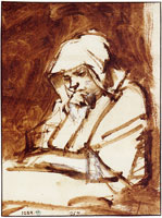 Rembrandt Woman at a window