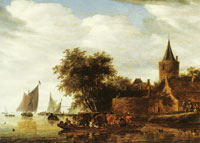 Salomon van Ruysdael River Landscape with Ferry