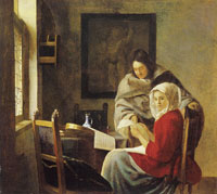 Johannes Vermeer Young Woman Interrupted at Music