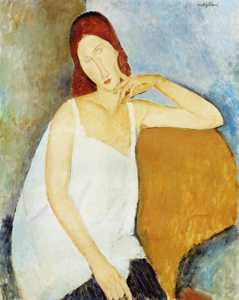 Portrait of Jeanne Hebuterne_意大利画家阿米地奥·莫迪里阿尼_肖像油画_91.4 x 73 cm