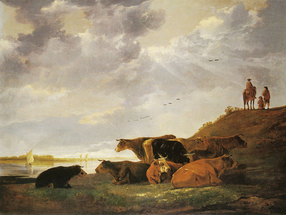 Aelbert Cuyp - River landscape with cows