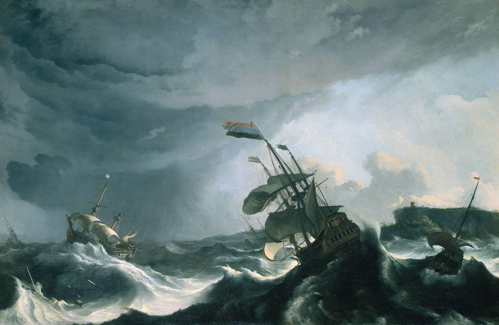 Ludolf Backhuysen - Ships at a stormy sea