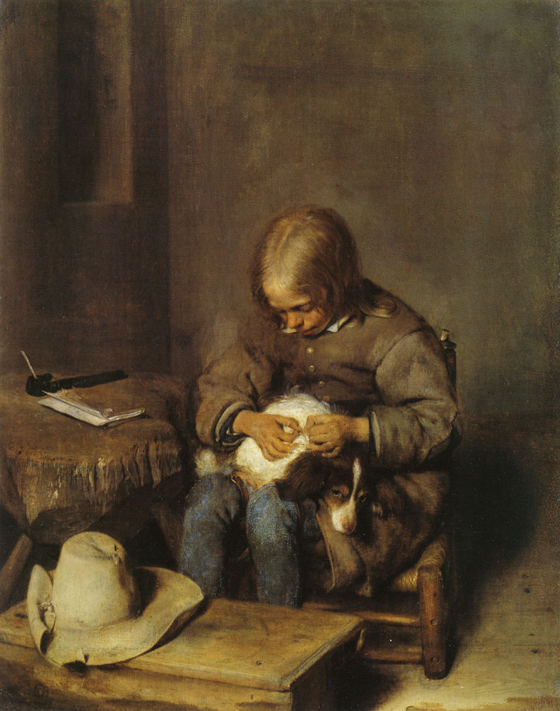 Gerard ter Borch - A boy caring for his dog