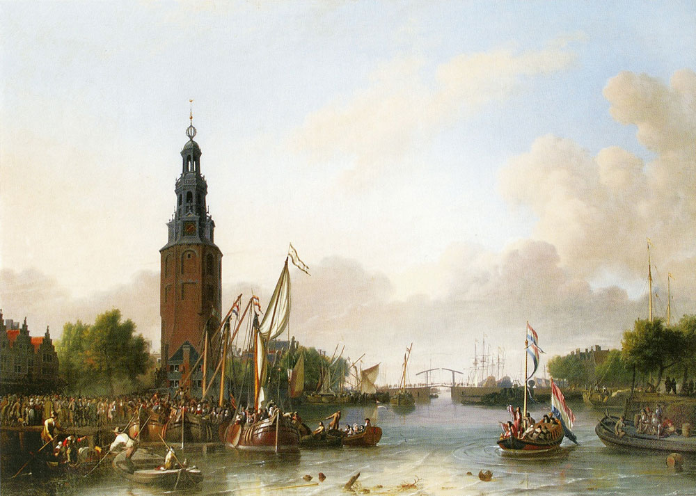 Ludolf Backhuizen - The Embarkation of Soldiers and Sailors at the Montelbaanstoren in Amsterdam
