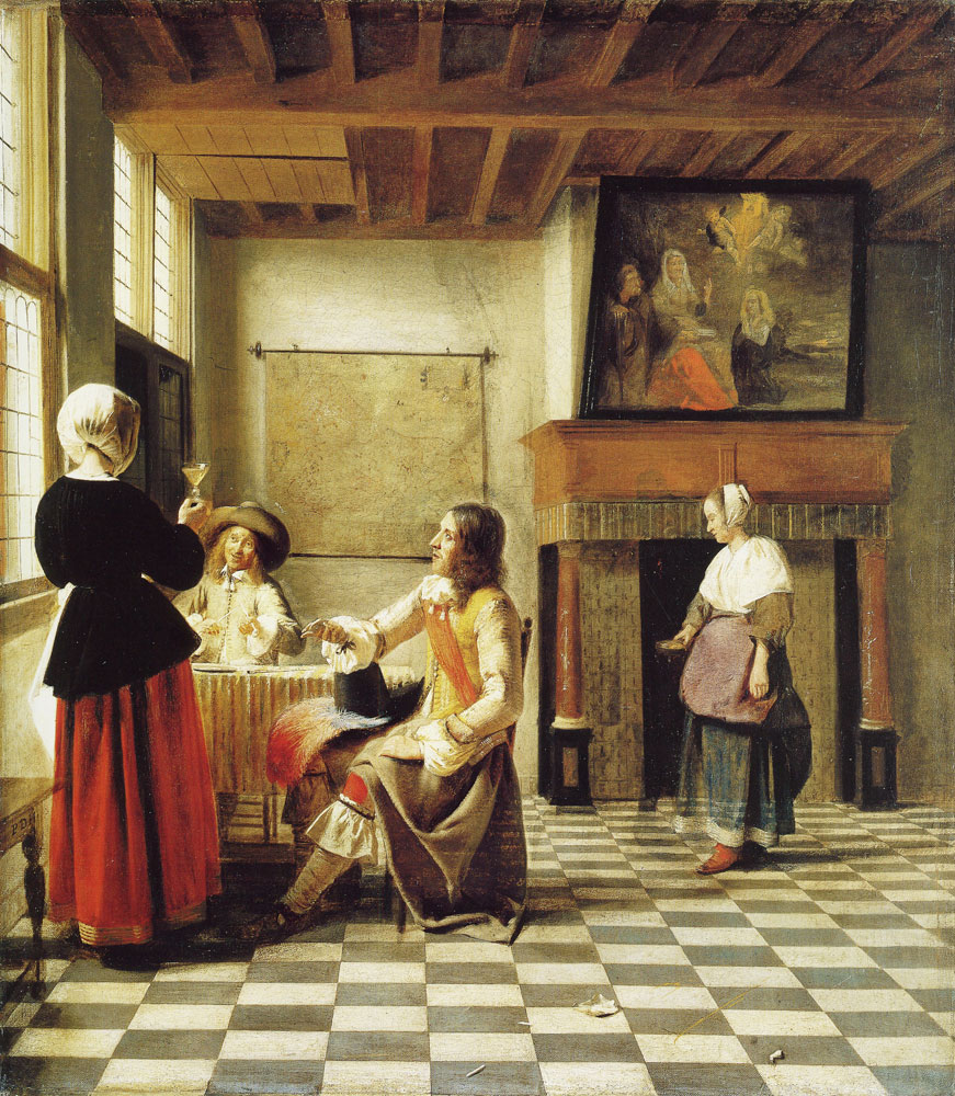 Pieter de Hooch - A Woman Drinking with Two Men, and a Serving Woman