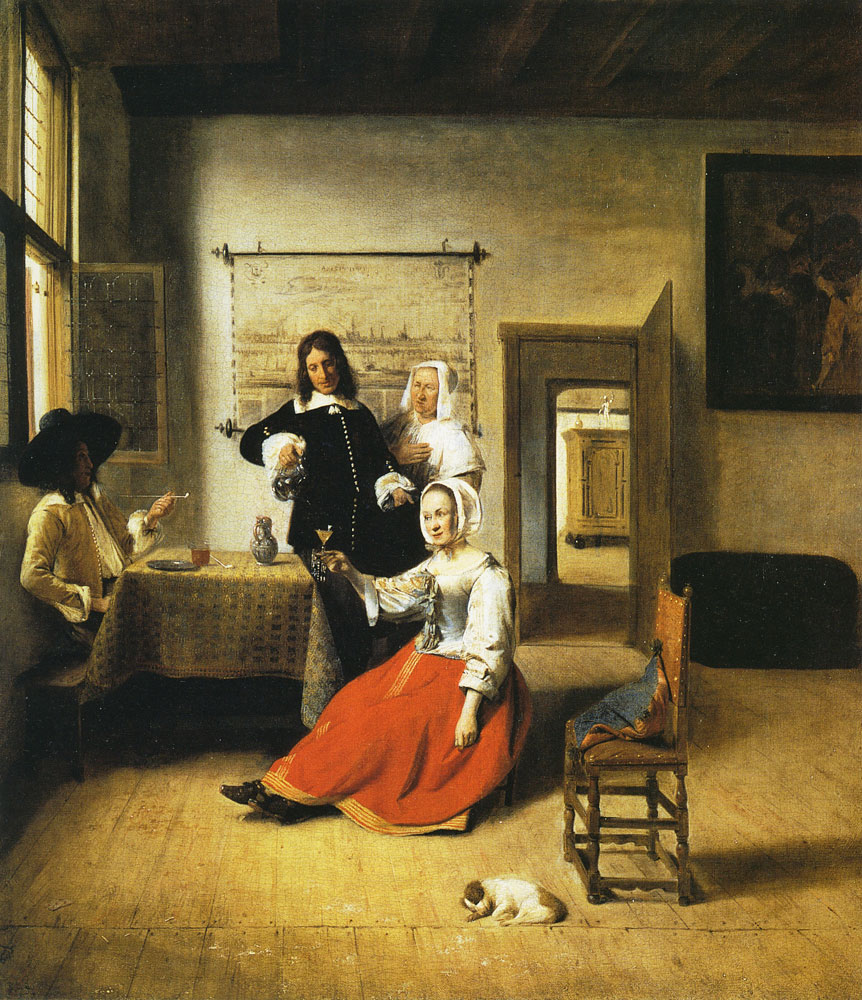 Pieter de Hooch - Woman Drinking with Two Men
