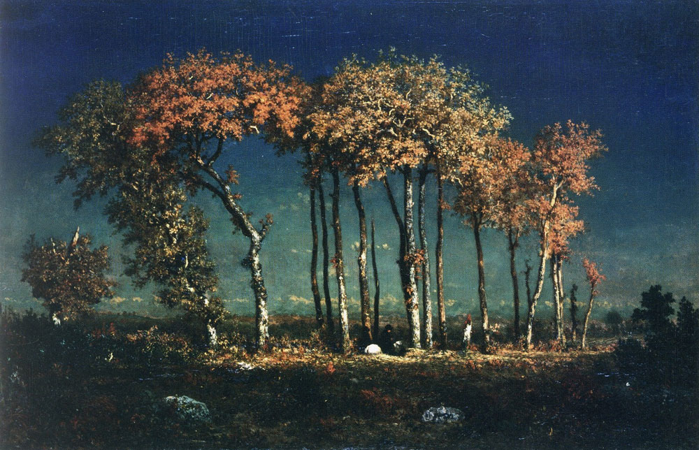 Theodore Rousseau - Under the birches, evening