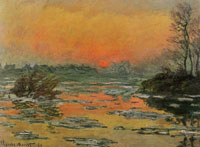 Claude Monet Sunset on the Seine in Winter