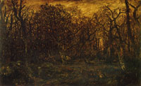 Théodore Rousseau - The Forest in Winter at Sunset