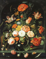 Abraham Mignon A Vase of Flowers in a Niche