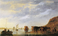 Aelbert Cuyp A herdsman with five cows by a river