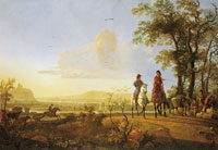 Aelbert Cuyp Horsemen and herdsmen with cattle