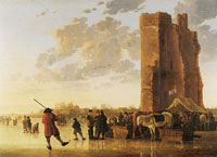 Aelbert Cuyp - Ice scene before the Huis te Merwede near Dordrecht